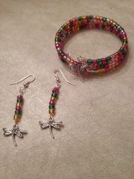 Basic Memory Wire Beaded Bracelet and Beaded Earrings w/Dragonfly Charm.