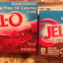 JELLO -- Sugar-free and Cook and Serve, Sugar=free pudding. (BLUE box)